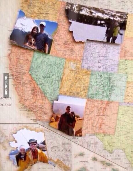 Take a photo in different states to make a map collage
