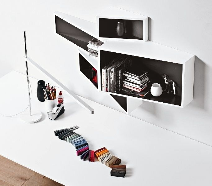 Wall-Mounted MDF Bookcase SheLLf by @Kristalia Interiors | Design Ka-Lai Chan (2012)