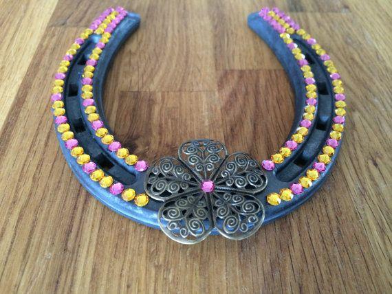 Swarovski Horseshoe with metal flower and