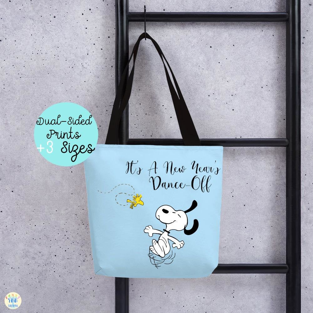 Snoopy New Years fun Totes Shopping Tote Bags, funny