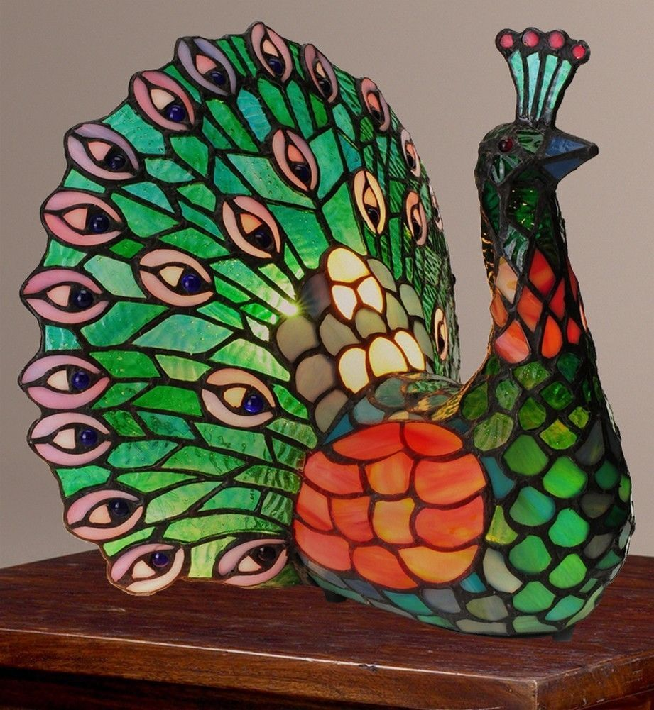 Tiffany Style 11 5 Quot Poetic Peacock Stained Glass Accent
