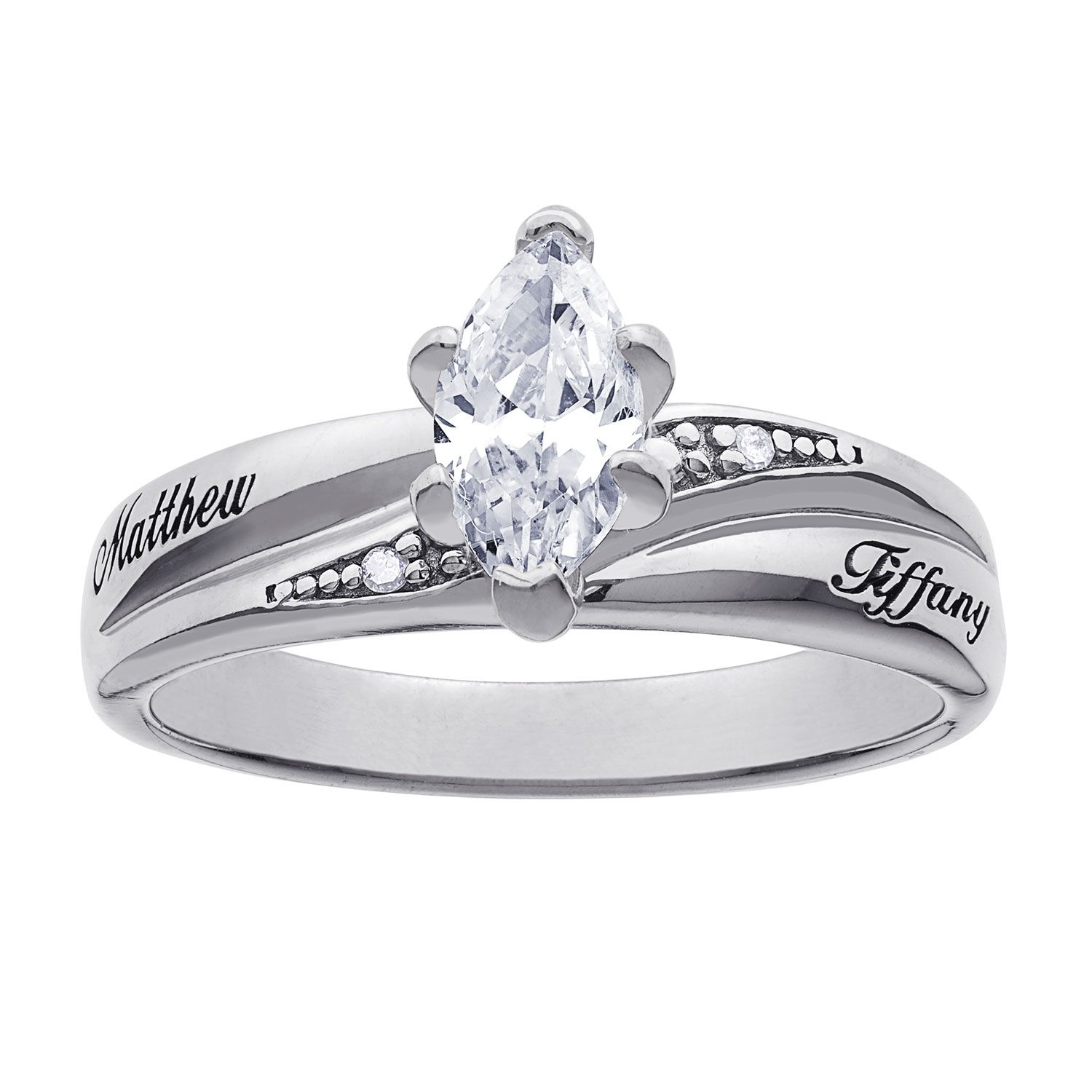 Platinum Plated Sterling Silver CZ Diamond Wedding Name Ring