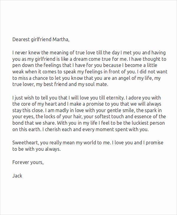 Love Letter to Ex Girlfriend Lovely Sample Love Letters