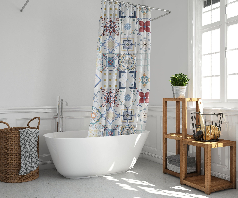 Bohemian farmhouse shower curtains mosaic abstract tiles