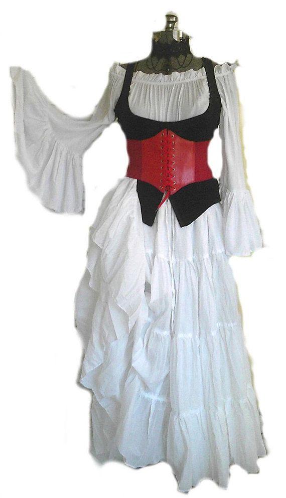 d226639cf14 RENAISSANCE CORSET Underbust Waist Cincher Pirate Steampunk Cosplay Costume  Medieval RED 9 Colors Fr