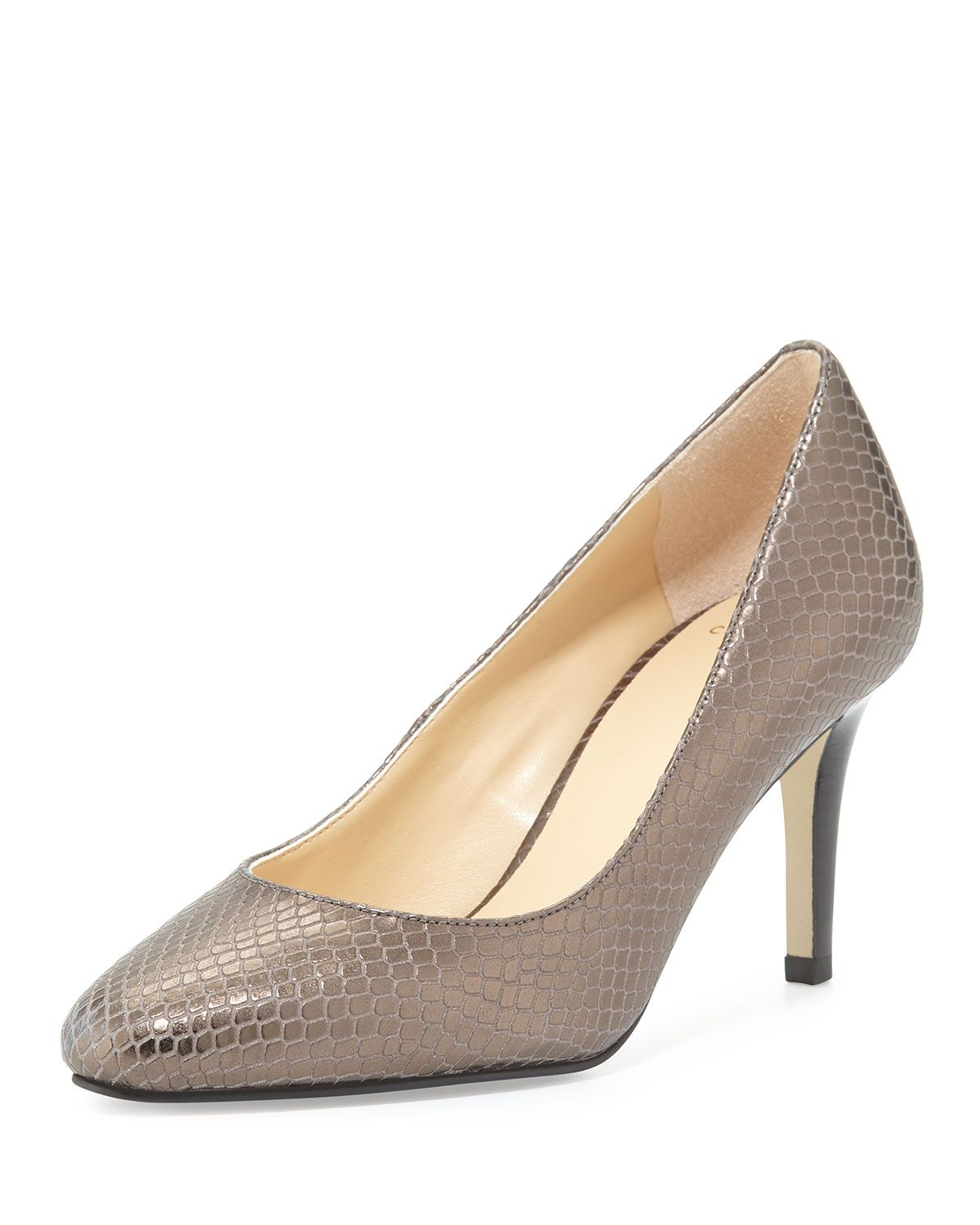 Cole Haan Lena Metallic (Grey) Snake-Embossed Pump, Storm Cloud, Women's