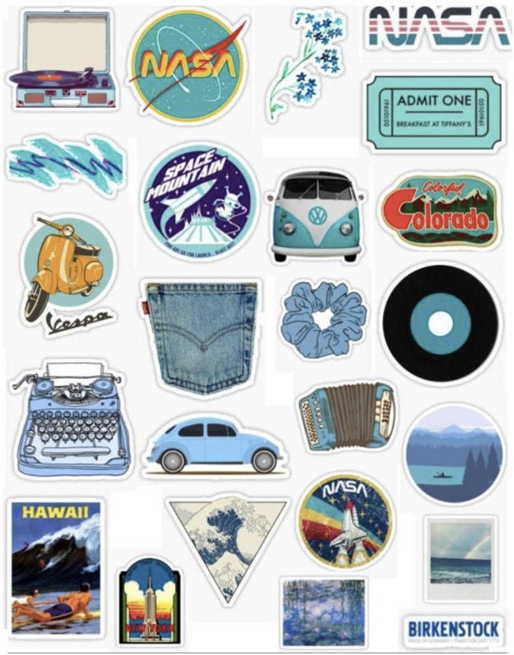 24 Vsco Aesthetic Blue Sticker Pack Etsy Iphone Stickers Aesthetic Stickers Iphone Case Stickers