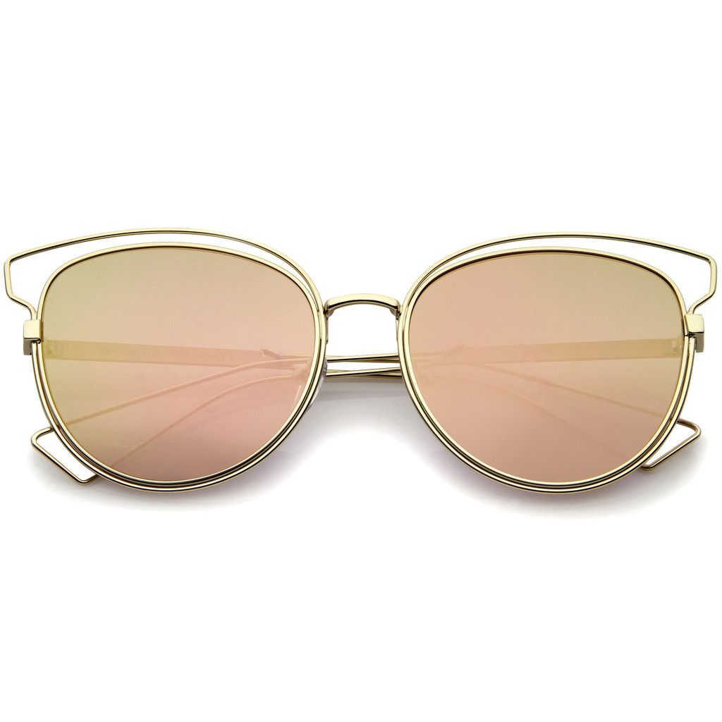c5333120db Gold Pink Mirrored Cat Eye Sunglasses - zeroUV