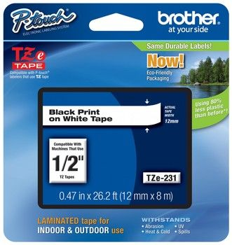 Brother Tze 231 1 2 In Black On White P Touch Label Tape 12mm Tz 231 Label Printer Label Maker Tape Black Tape