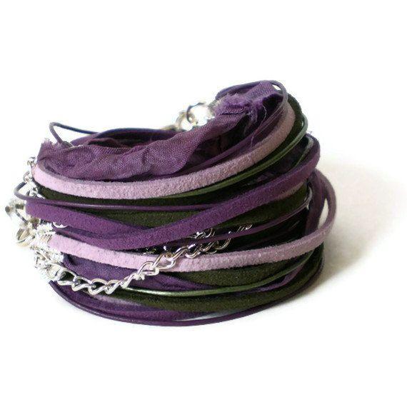 boho wrap bracelet, leather ribbon suede wrap, purple green wrap bracelet, rocker cuff, triple wrap bracelet, gift for her by jcudesigns on Etsy