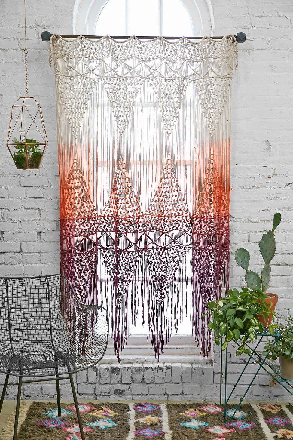 magical thinking safi macrame dip dye ombre gradient braided woven tassel fringe wall hanging curtain window treatment