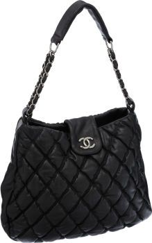 Chanel Black Quilted Lambskin Leather Large Bubble Hobo Bag with ...