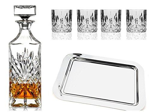 Shannon Bar Set - Shannon Crystal Bar Set With Silver Tray, 2015 Amazon Top Rated Decanters #Kitchen
