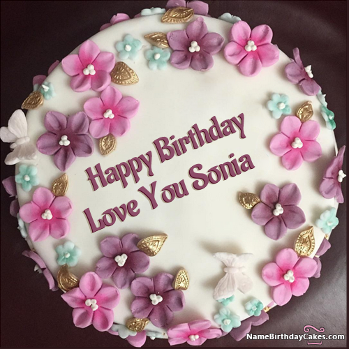 The Name Love You Sonia Is Generated On Happy Birthday Cake