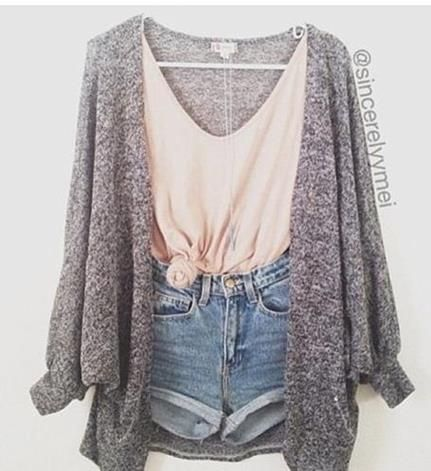 Outfit for those warm fall days---cut offs, drapy sweater, tied loose tee. id pair it with a messy bun and some sperries for a preppy twist, and converse for a carefree one