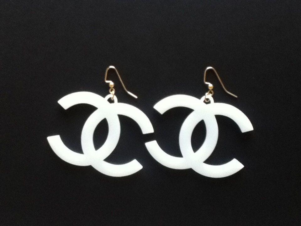 f49c029d White Acrylic Coco Chanel Earrings. $15.00, via Etsy. | CC | Chanel ...
