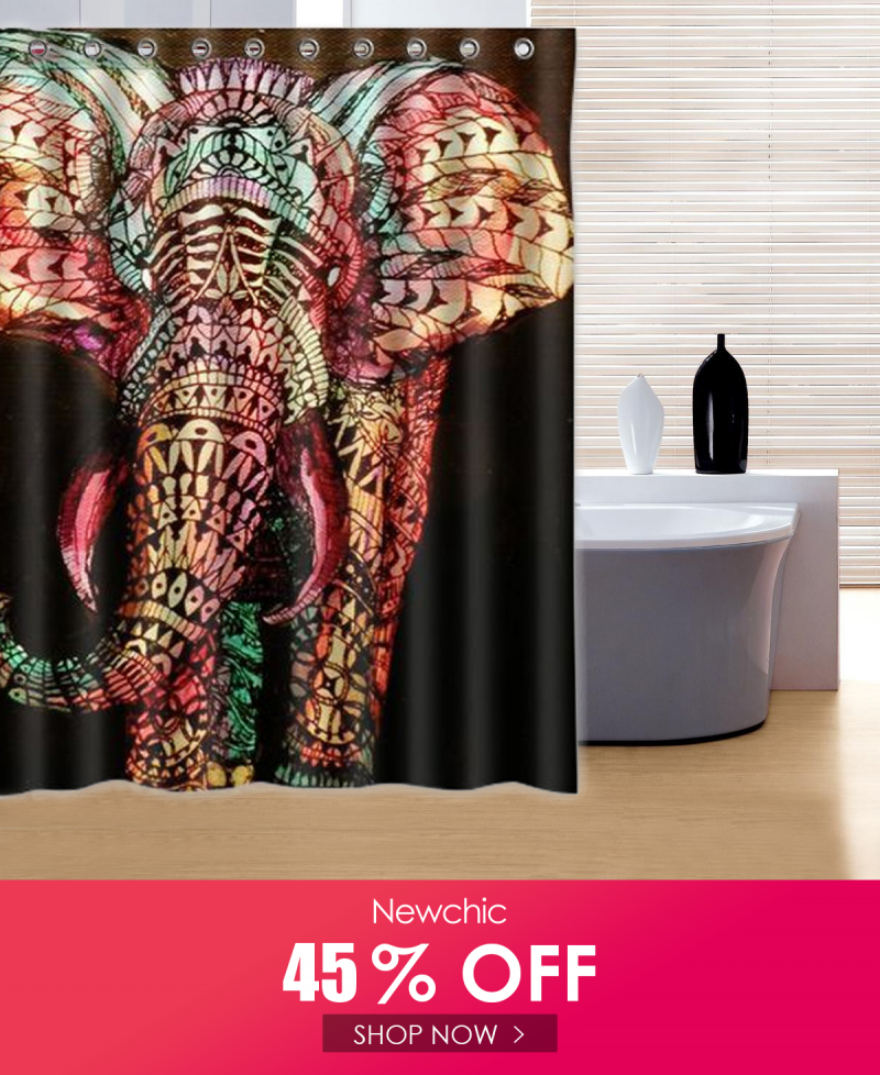 180 180cm Colorful Elephant Pattern Fabric Waterproof Bathroom
