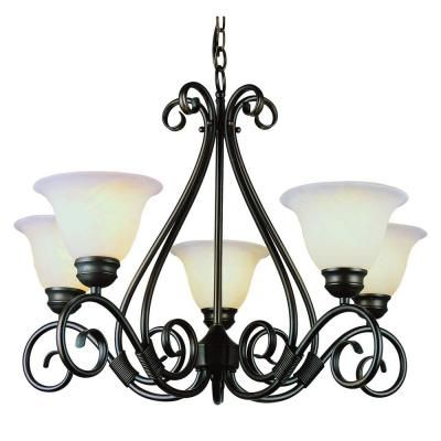 Hampton Bay 5 Light Oil Rubbed Bronze Chandelier with Frosted White Glass Shades IAY8115A 4 The Home Depot