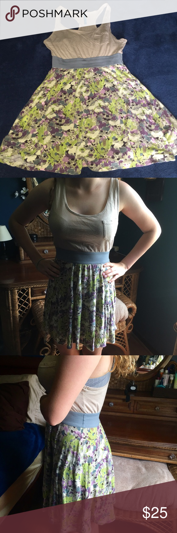 Free people dress Very soft, Gently worn FP dress. Top is tan, grey banded waist with pretty green, purple and ivory floral pattern. Bought for my daughter and it's to big. Free People Dresses