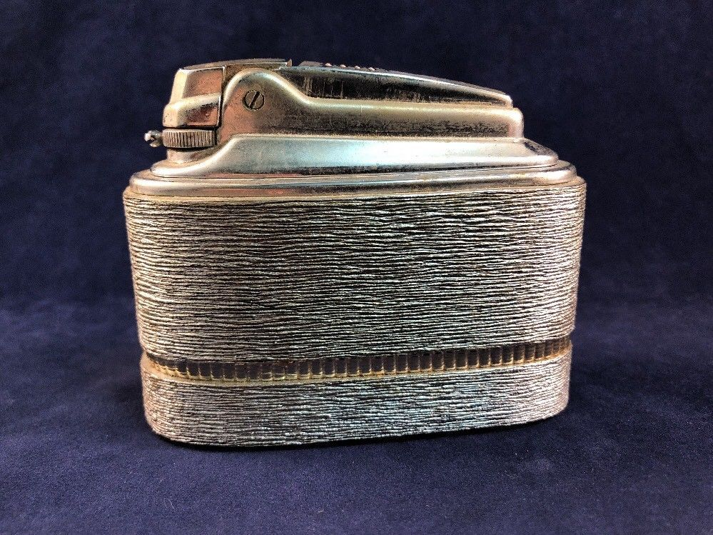 Vintage Table Lighter 1959 Ronson Brushed Silver Metal
