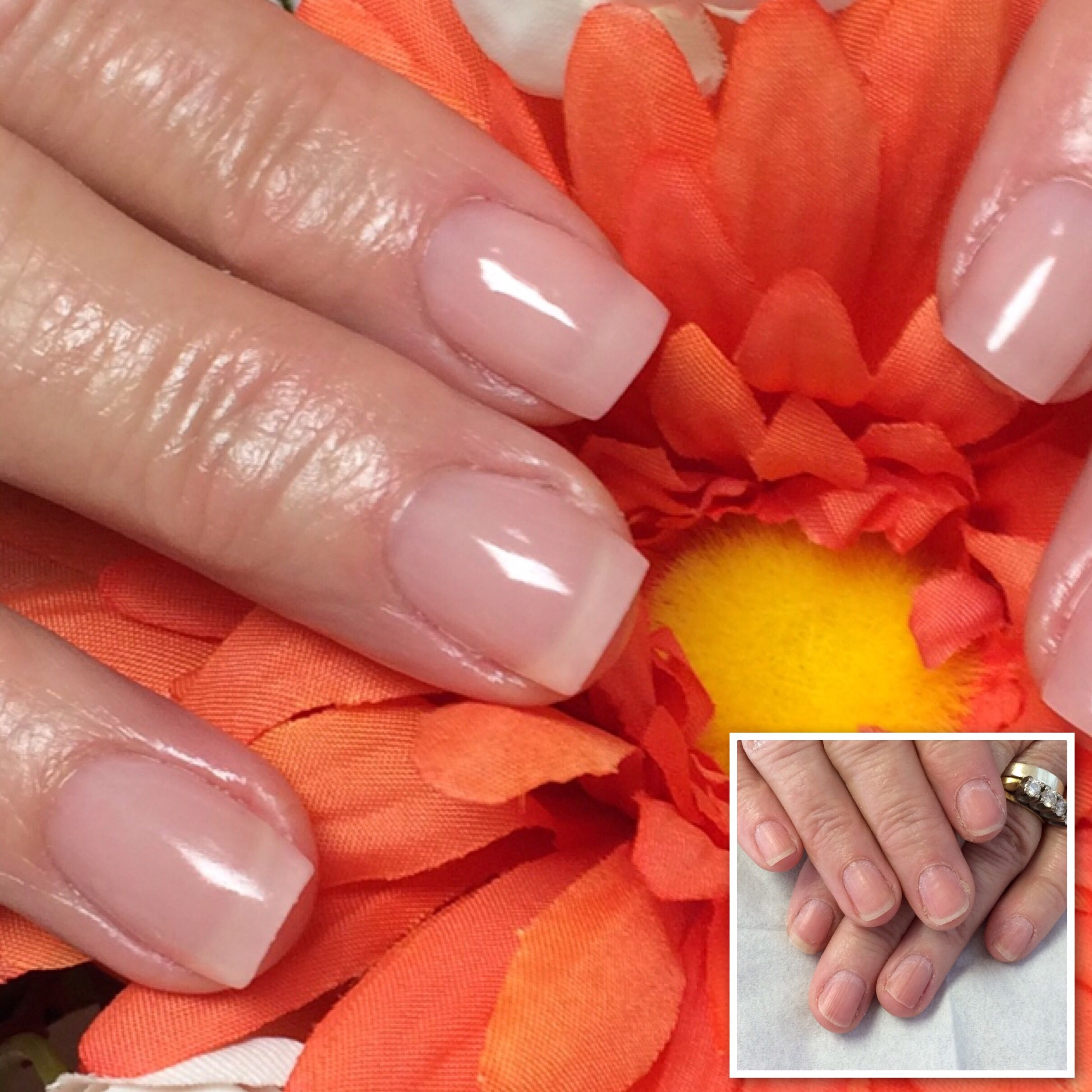 Gelish Polygel In Lightpink I Love How Natural These Look Simply Beautiful Coral Gel Nails Polygel Nails Nails