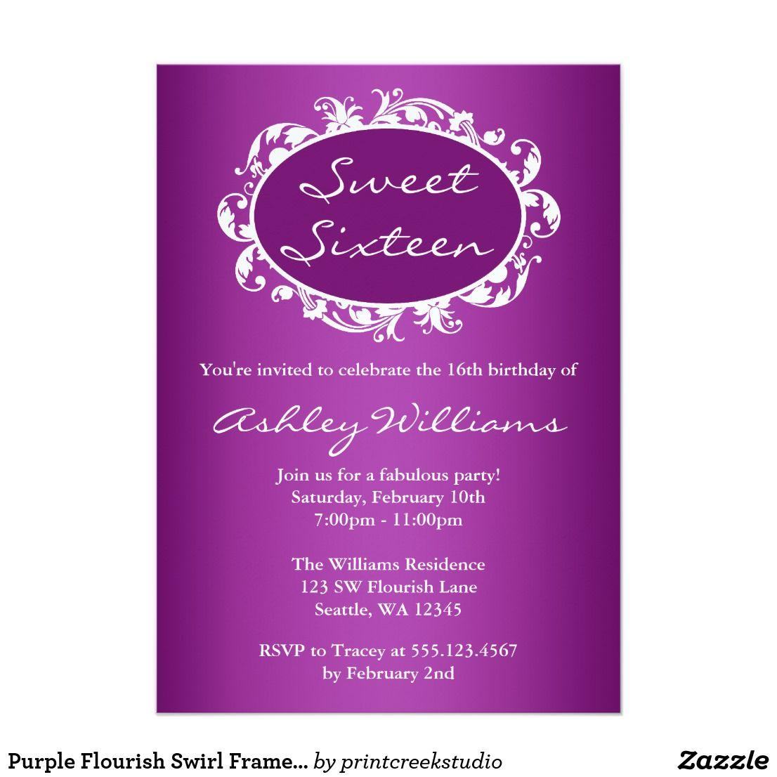 Purple flourish swirl frame sweet 16 birthday card invitation purple flourish swirl frame sweet 16 birthday card bookmarktalkfo Choice Image