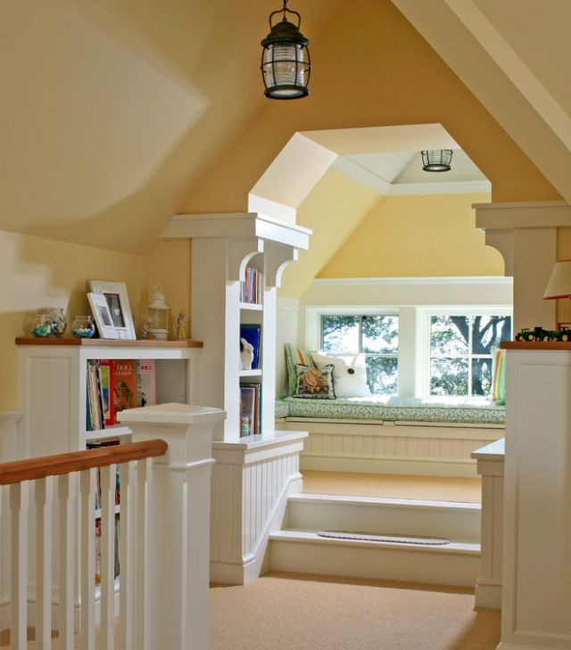 Attic - Built in shelves and enhanced walls make space feel included in the house, instead of an after thought.