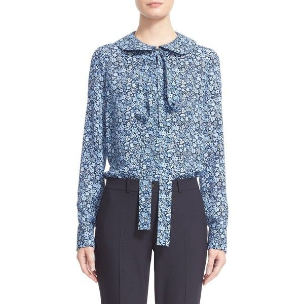 53c7e3b8e757f6 Women's Michael Kors Floral Print Silk Tie Neck Blouse (6.675 HRK) ❤ liked  on