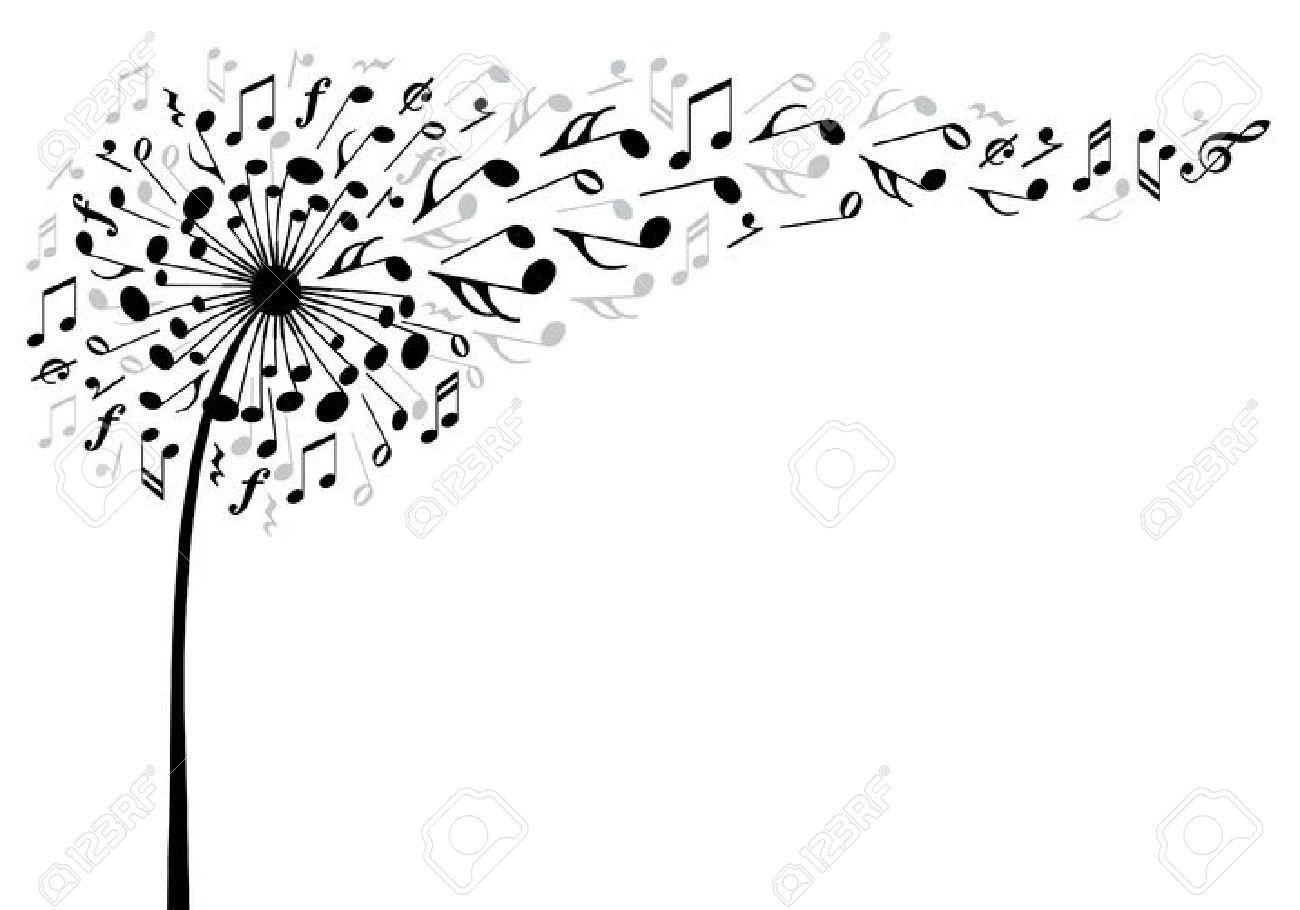 Musique fleur de pissenlit avec le vol des notes de