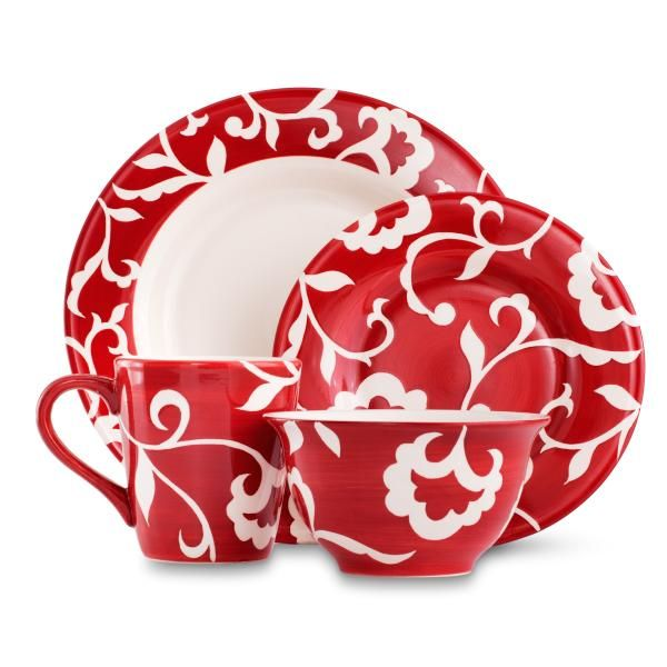 Sandra By Sandra Lee Red-Damask Dinnerware Set  sc 1 st  Pinterest & The Scoop On Sandra By Sandra Lee Exclusive Sears and Kmart Home ...