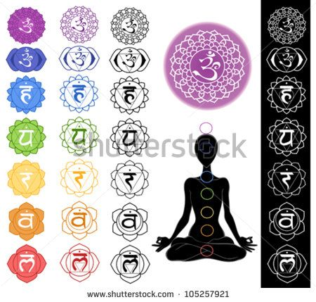Man silhouette in yoga position with the symbols of seven chakras ...