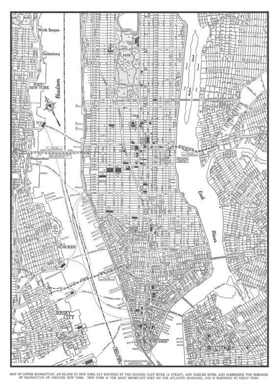 new york city map 1944 new york city manhattan street map vintage 20x30 print poster