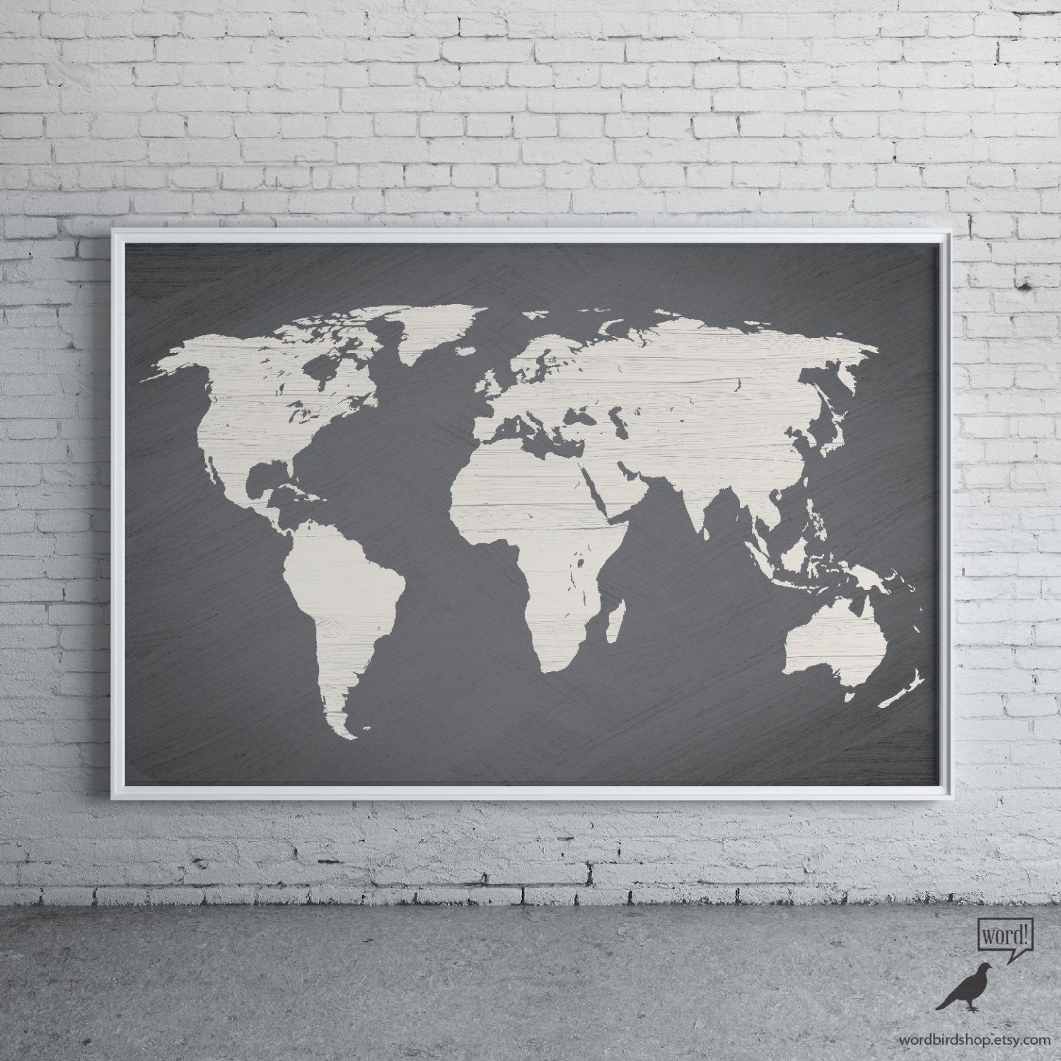 Gray world map poster large world map print modern home decor gray world map poster large world map print modern by wordbirdshop gumiabroncs Image collections