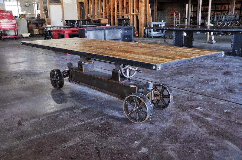 train crank table by vintage industrial in phoenix vintage industrial furniture design. Black Bedroom Furniture Sets. Home Design Ideas