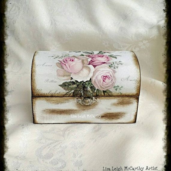 Wooden Decoupage Box French Shabby Rustic by ArtelisaGiftBoutique