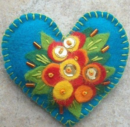 Valentine's Day Beaded Felt Heart Brooch  Embroidered by veronkaa, $12.00