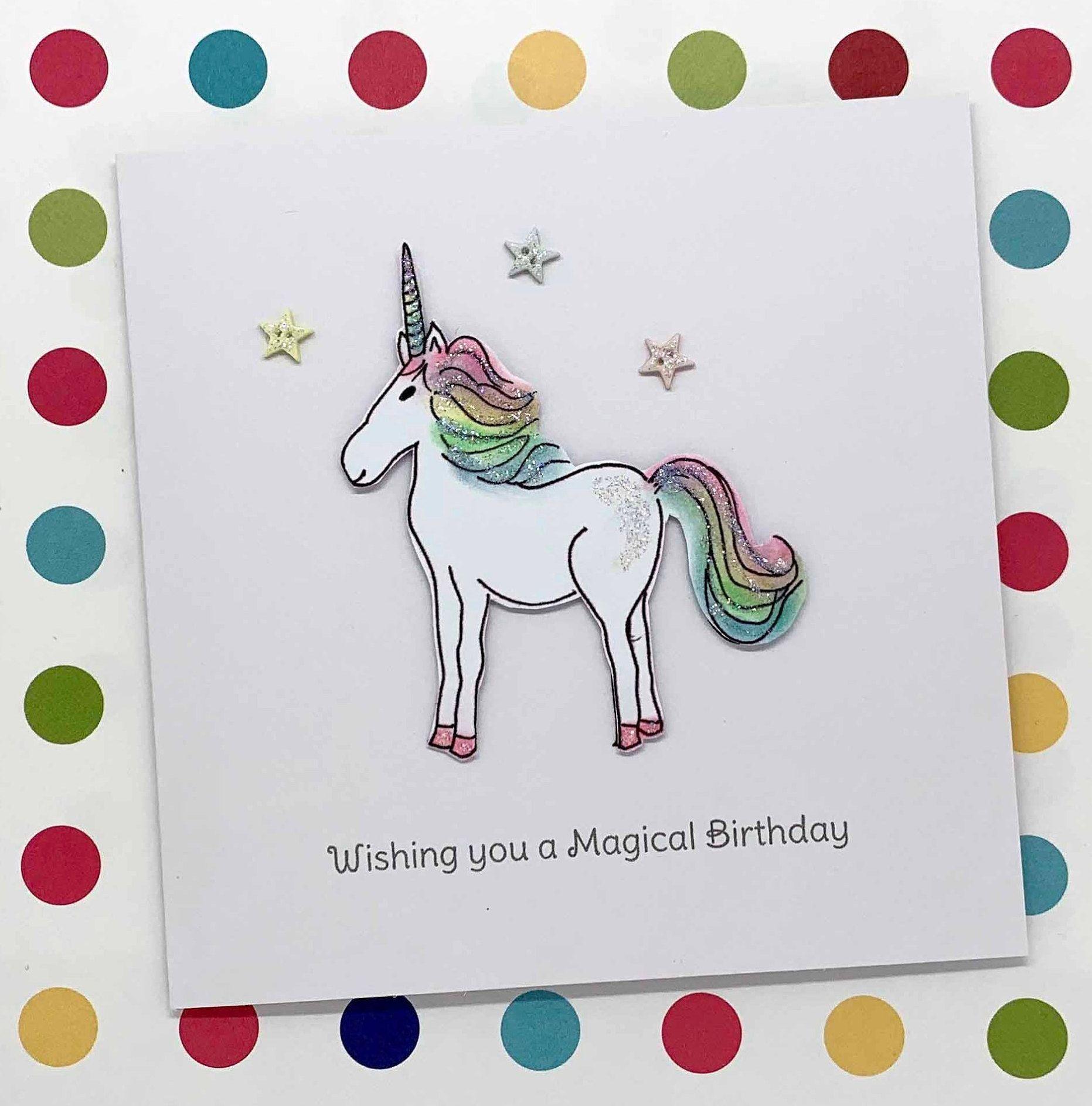Handmade Unicorn and Stars birthday card For Unicorn