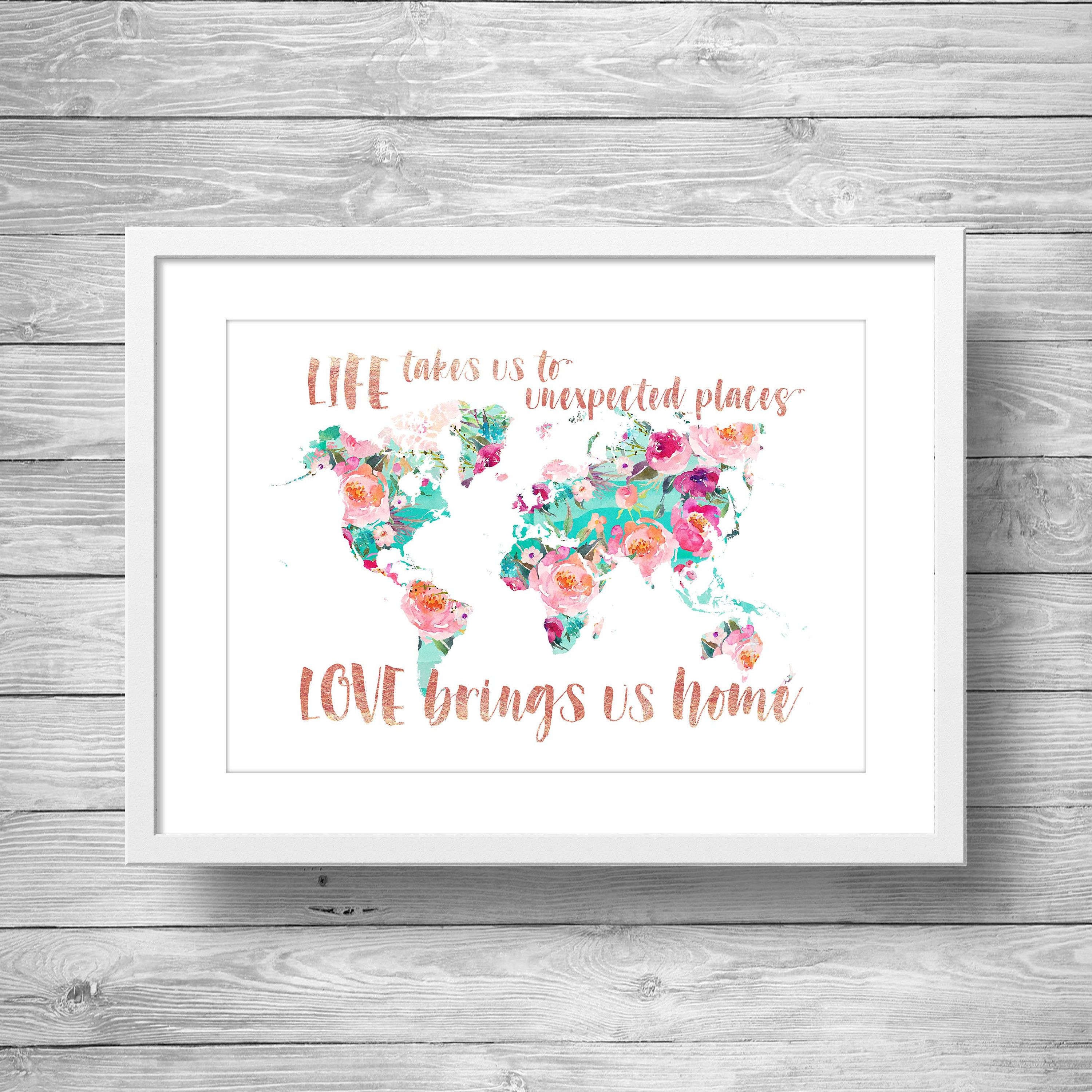 Printable art love brings us home world map floral printable art love brings us home world map floral watercolor world map sciox Image collections