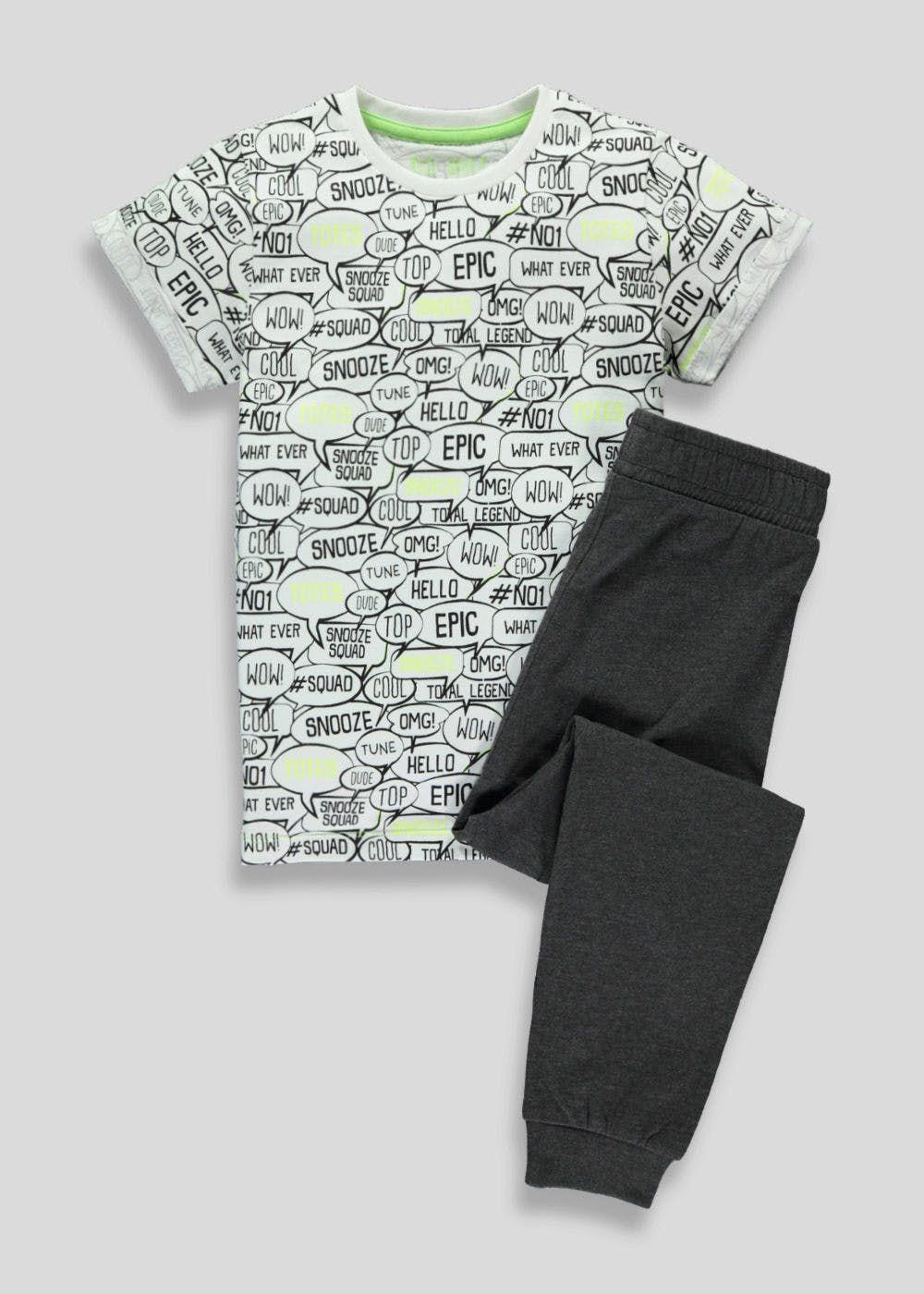 dd85a8b7ca0dc Boys Slogan Print Pyjamas (4-13yrs) – White | SLEEP | Pyjamas, White ...