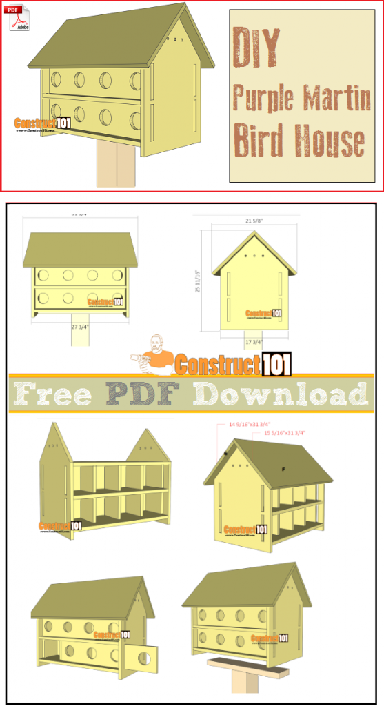 Purple Martin Bird House Plans 16 Units Pdf Download Construct101 In 2020 Purple Martin House Plans Bird House Plans Free Purple Martin House
