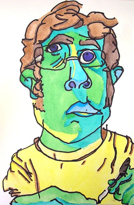 kevin breakstone Self portrait  Drawing style    i like the colors.