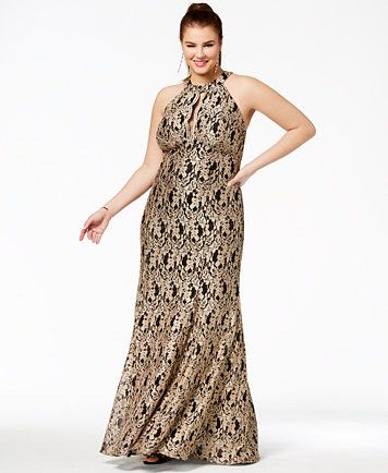 689c1348 Image 1 of Morgan & Company Trendy Plus Size Metallic Lace Halter Gown