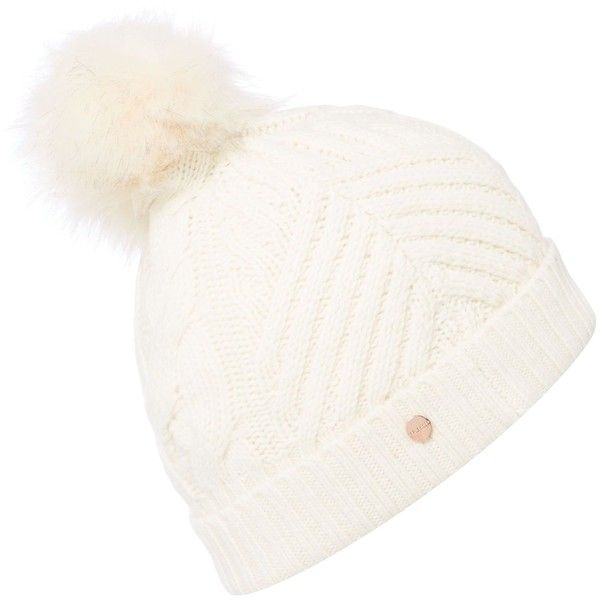 0f0b2a7e Ted Baker Lisabet faux fur pom pom knitted hat ($48) ❤ liked on Polyvore