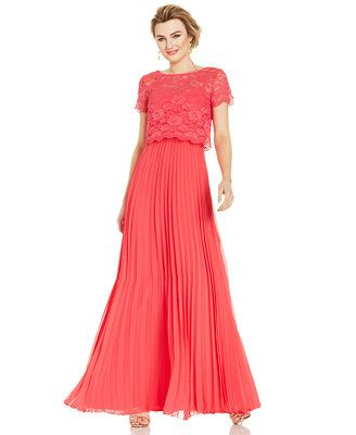 Xscape Short-Sleeve Lace Popover Pleat Gown