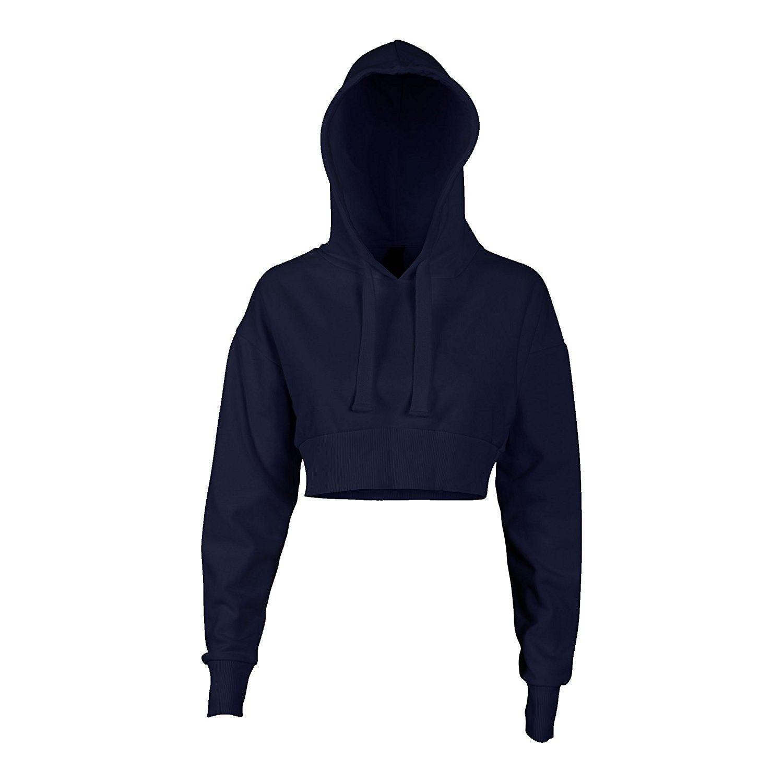 dadbb0988dc GCKNITWEAR'S Women's Crop Hoodie Long Sleeve Pullover Sweatshirt ...