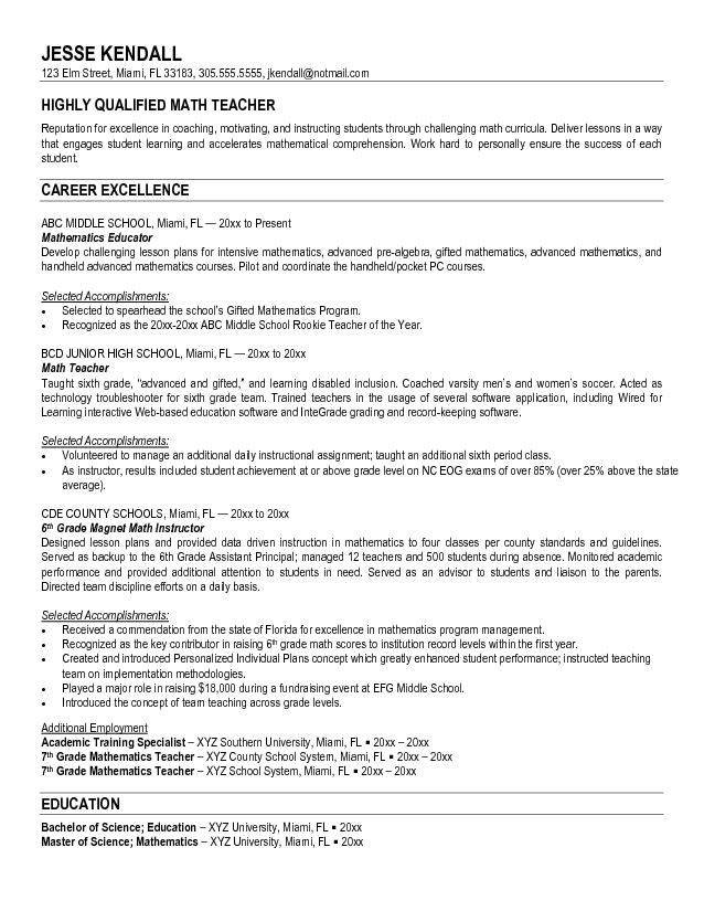 Math Teacher Resume Sample -    jobresumesample 677 math - teaching resume examples