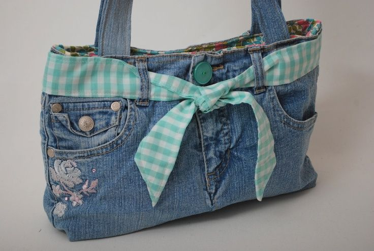 Blue Jean Craft Ideas Blue Denim Recycled Jean Purse With Vintage