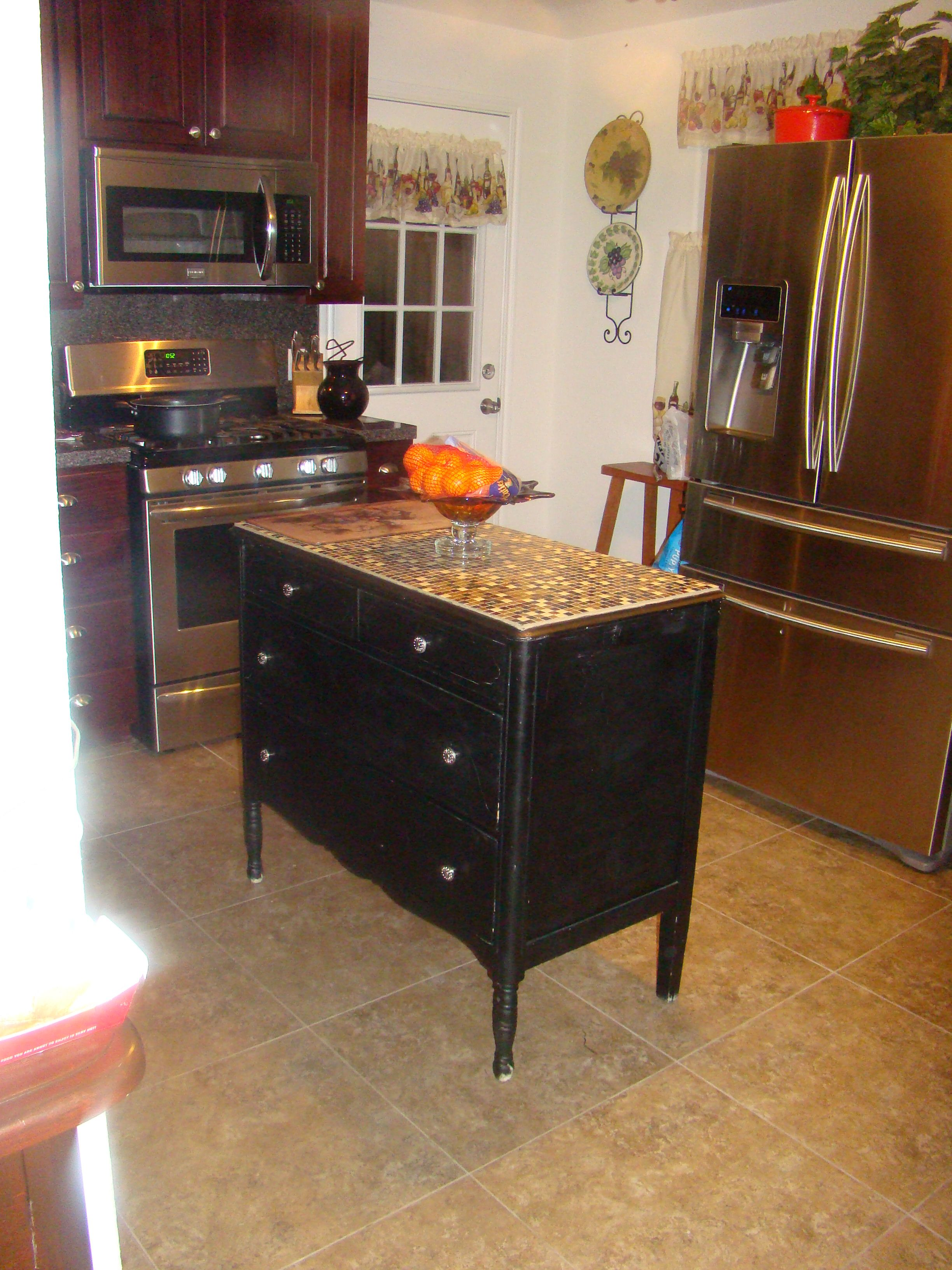 Refurbished Repurposed An Old Dresser For My Kitchen Island Added Gl Tile To The