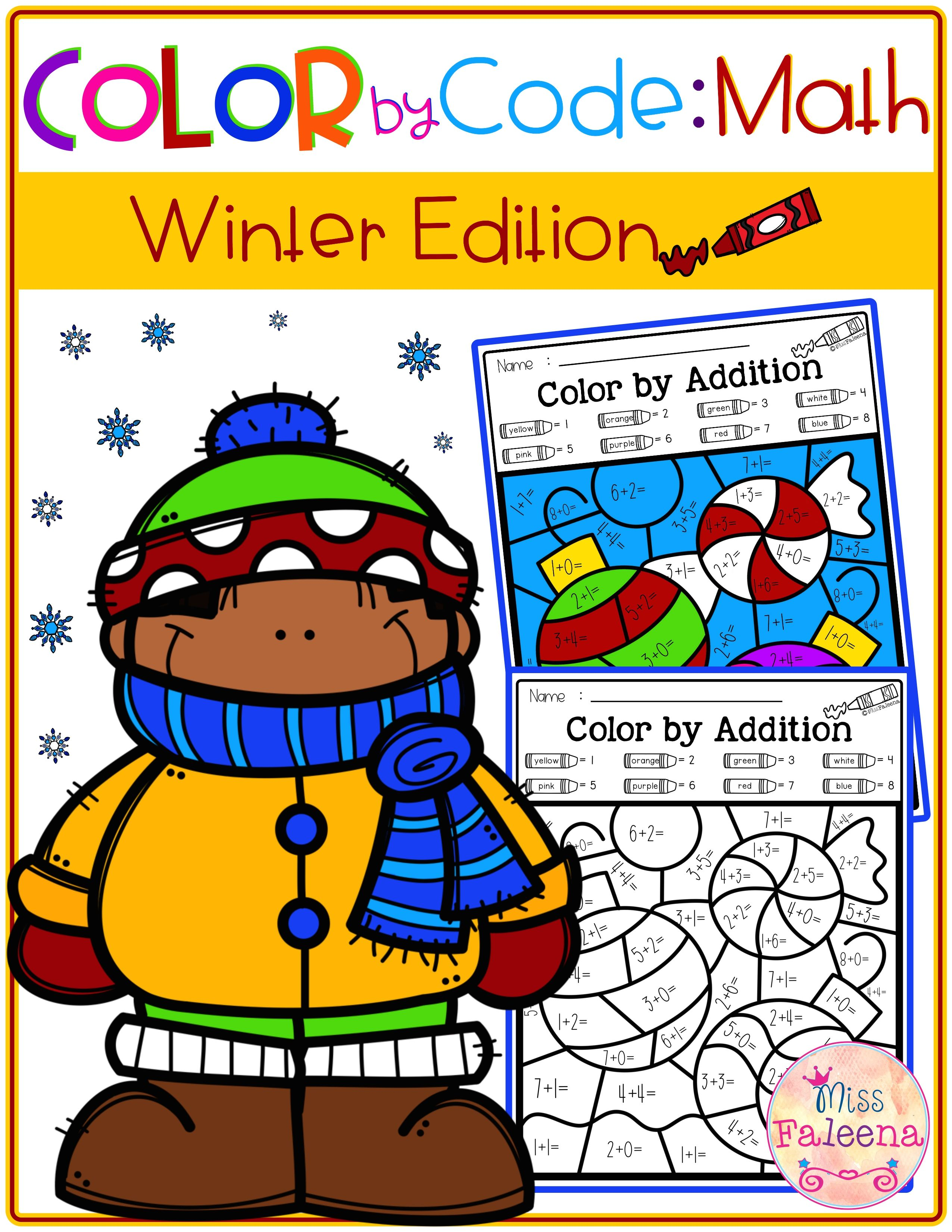 Winter Color By Code Math Color By Number Addition