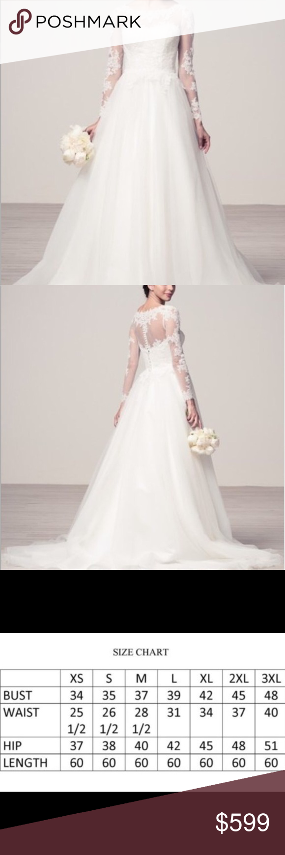 Plus size long sleeve lace wedding dress gown NWT | Illusion ...